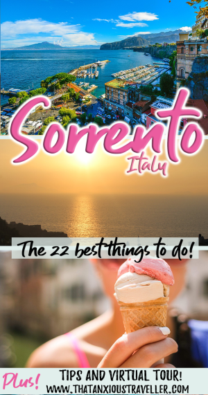 What are the best things to do in Sorrento? Let us tell you, with this in-depth guide to 22 activities which will make the most of your vacation! Get top photography tips, packing list, a virtual tour, a guide to the best hotels and restaurants, maps, links and more! Get the most out your trip to Italy! #italy #sorrento #thingstodo #packing #list #fashion #food #restaurant https://thatanxioustraveller.com