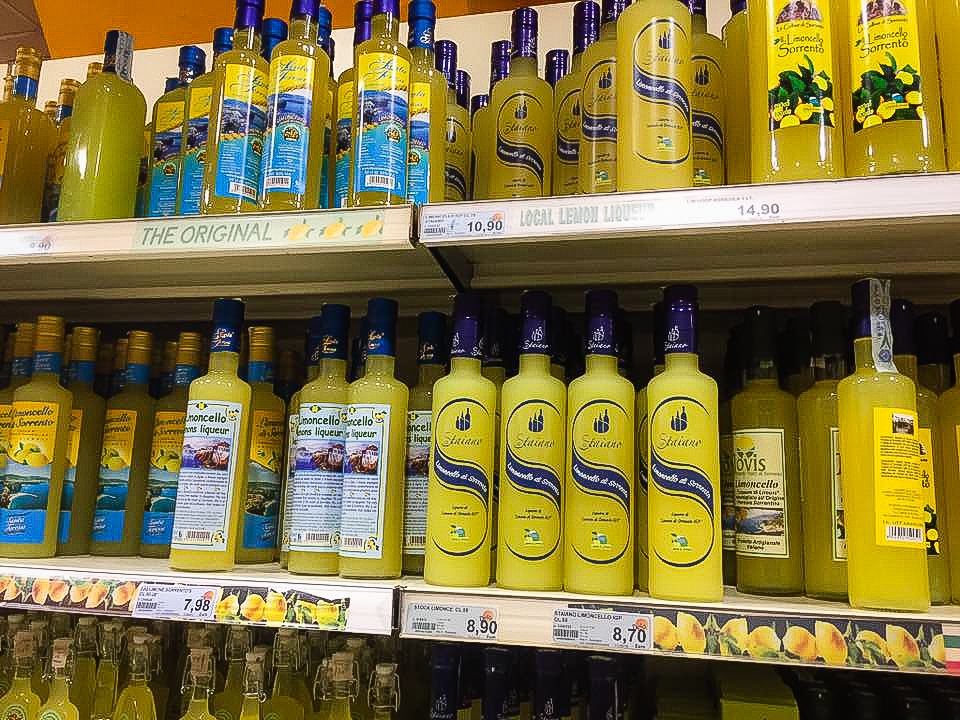 Bottles of limoncello in a shop