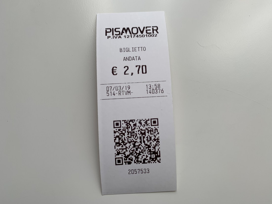 A ticket for the PisaMover