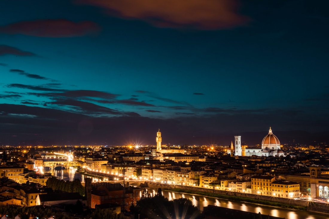 Florence skyline at night - 2 days in Florence itinerary