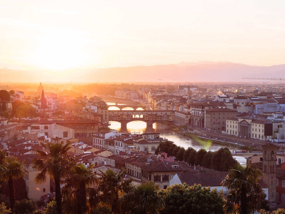 Sunset over Ponte Vecchio in Florence