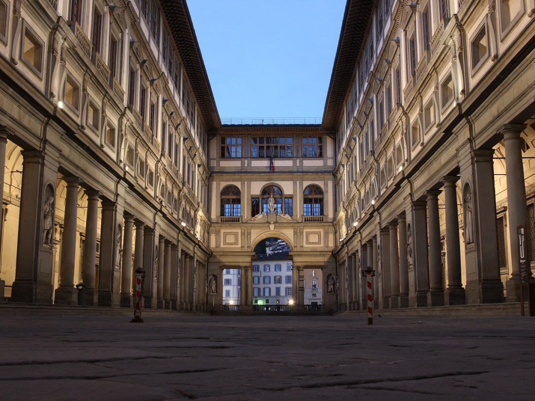 The Uffizi Gallery at dusk - 2 days in Florence itinerary