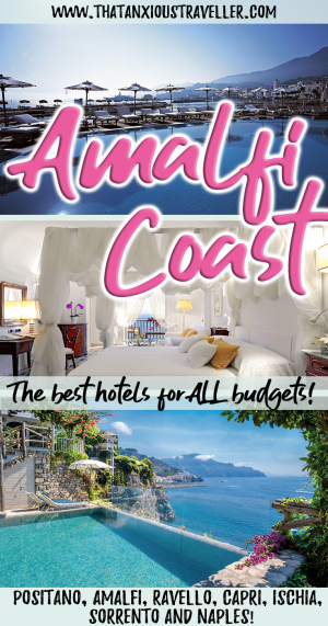Looking to stay at one of the best hotels on the Amalfi Coast? Whether you're looking for a budget, mid-range or luxury hotel in Italy's most beautiful area, this guide and review will help you find the best hotel for your Europe vacation! #thatanxioustraveller #amalficoast #amalfi #ravello #positano #capri #ischia #sorrento #naples #europe #italy