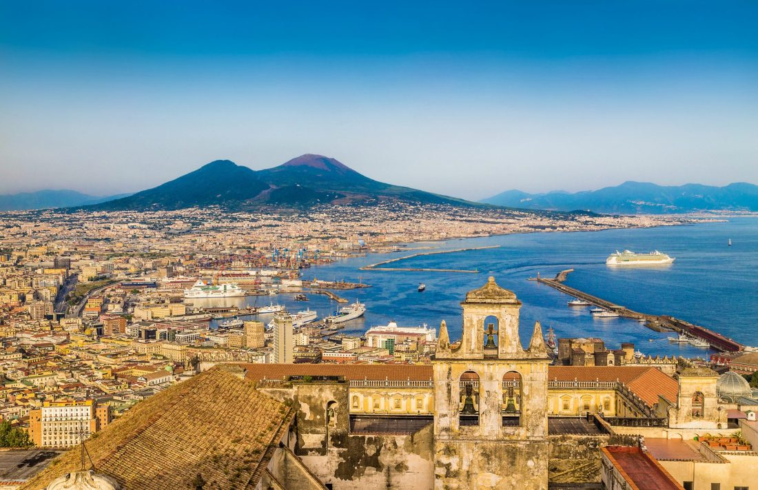 An aerial view of Naples, Italy - The best hotels on the Amalfi Coast for all budgets