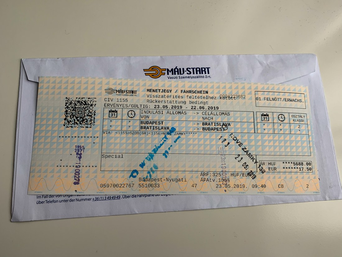 A ticket for the Budapest to Bratislava train