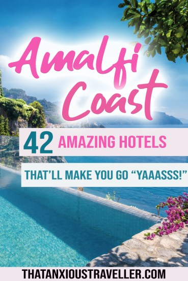 Looking for the best hotels on the Amalfi Coast? Maybe something romantic for a honeymoon, or with beach access to soak in Italy's most beautiful places? Whether you're looking for luxury or doing it on the cheap, check out this guide to the best hotels in Amalfi Coast for all budgets! #amalfi #coast #amalficoast #italy