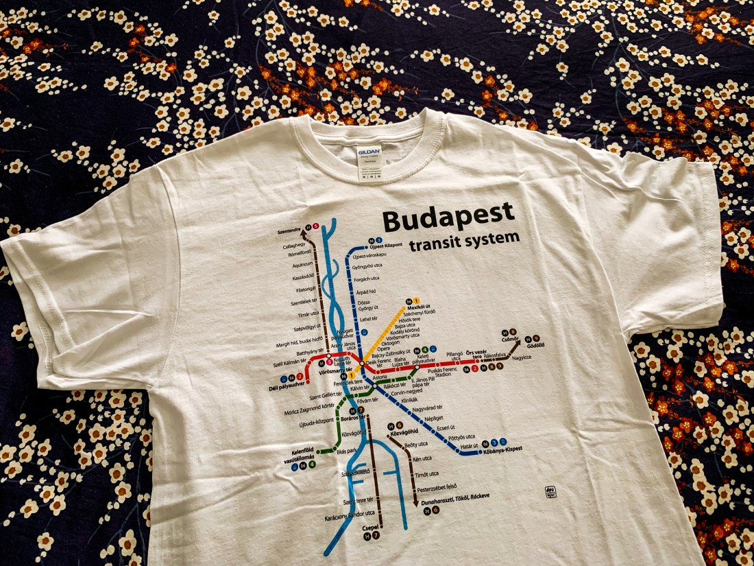 A t-shirt showing a map of Budapest's metro system