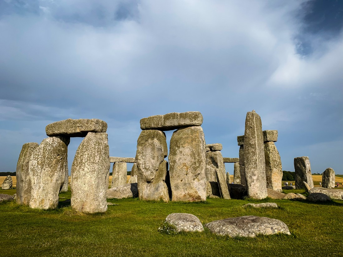 A close-up view of the standing stones at Stonehenge, England