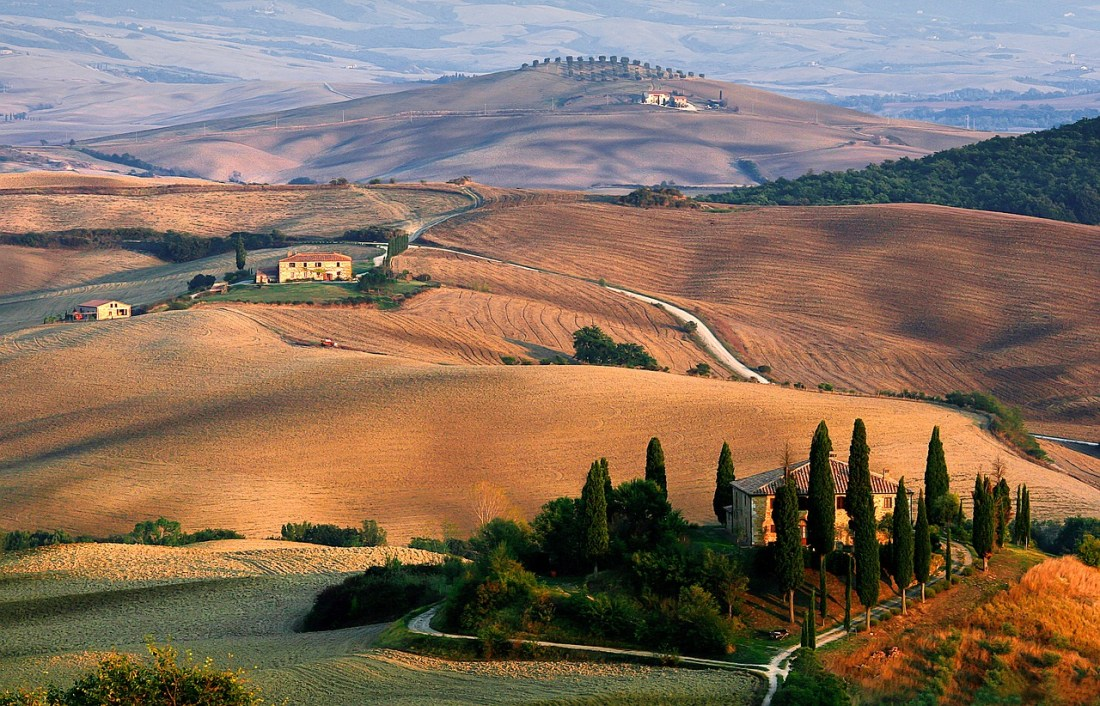 Rolling golden hills in Tuscany. Quotes about Italy, and quotes about Tuscany in particular, are quite popular.