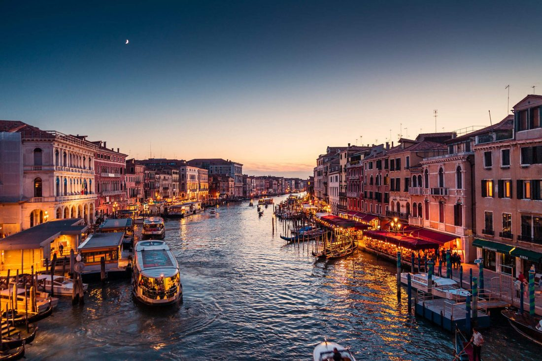 The grand canal in Venice. Quotes about Venice highlight the city's beautiful, yet mysterious, atmosphere.