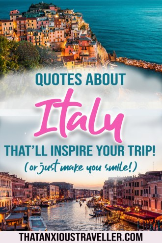 If you're looking for some Italy quotes to inspire your travels. try this article full of quotes about Italy! Whether you're looking for quotes about Tuscany, Venice, Rome, or general Italy quotes for Instagram, we've got you covered! Be inspired to travel by la dolce vita! #quotes #italy #instagram
