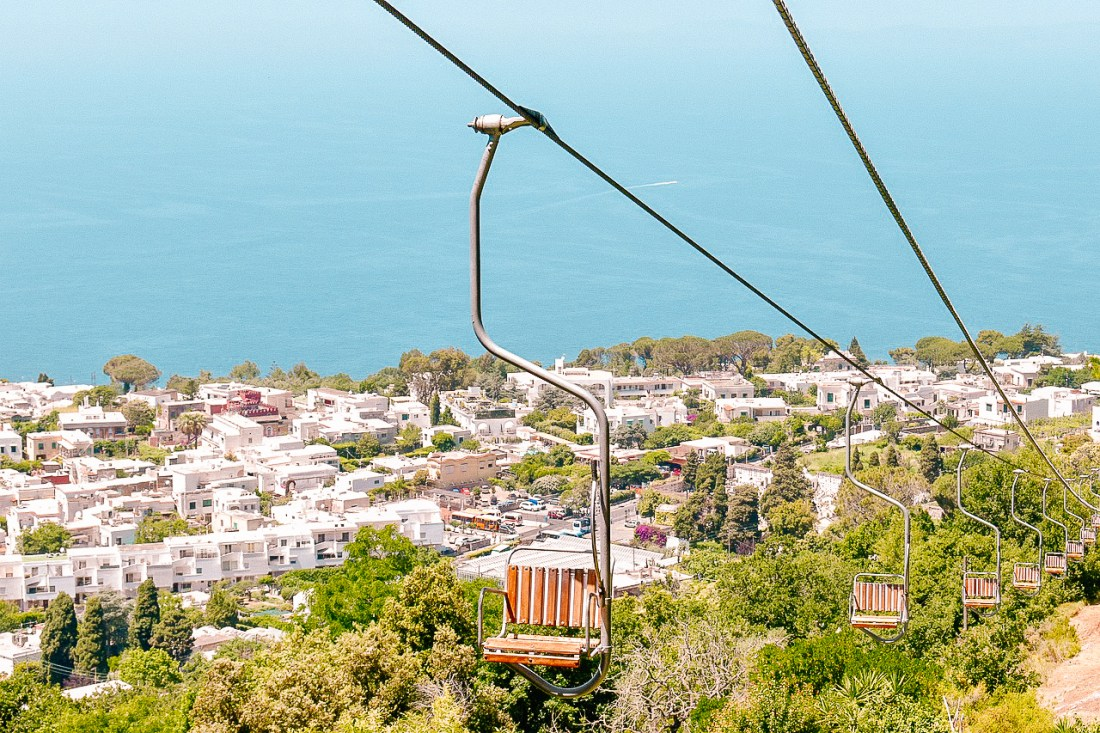 The chairlift up to Monte Solaro on Capri, an exciting trip for those seeking a day trip to Capri!