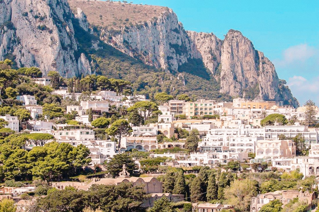A view of Capri Town, the most popular destination of a Capri day trip.