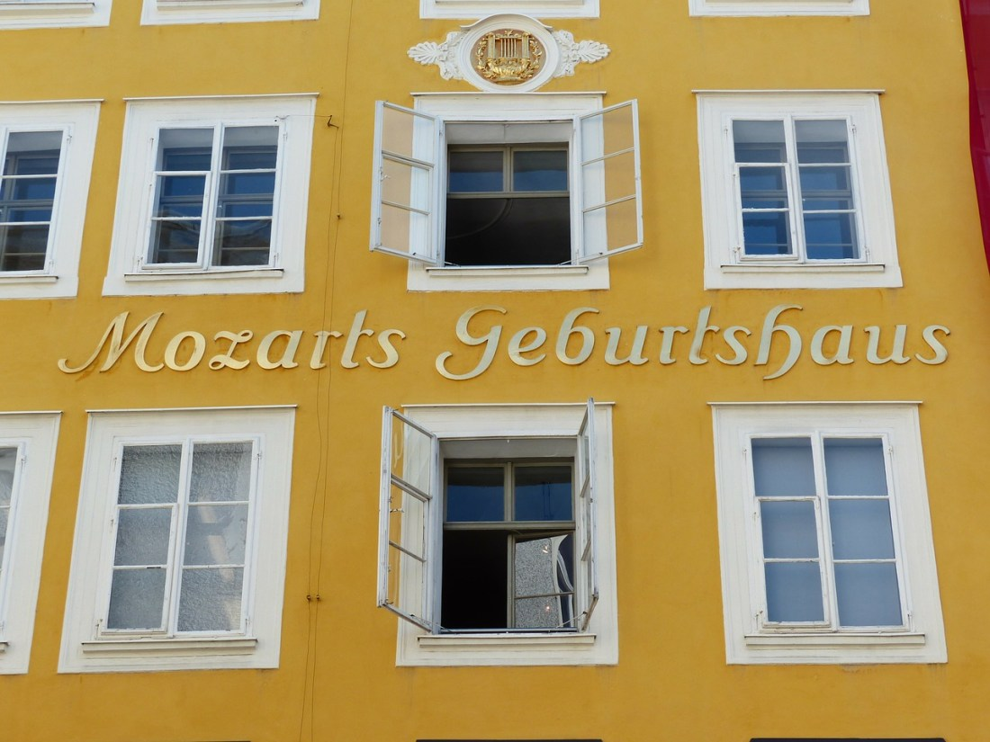 Mozart's birthplace in Salzburg, a yellow building with white windows. Anyone visiting Salzburg from Vienna needs a trip here to pay homage to Mozart!