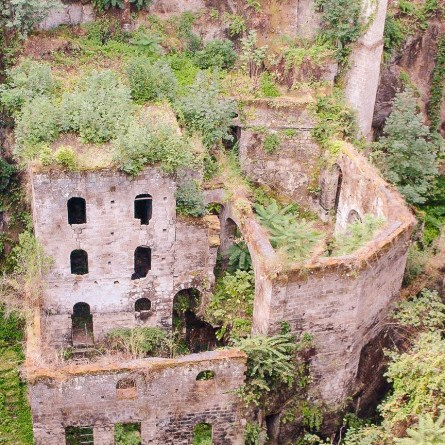 The ruined mill in Sorrento, one of the most instagrammable spots on the Amalfi Coast. Green ferns grow out of the brickwork.
