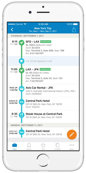 A phone showing the TripIt app in action, displaying a trip from San Francisco to New York. TripIt's new features turn it into an effective travel safety app.