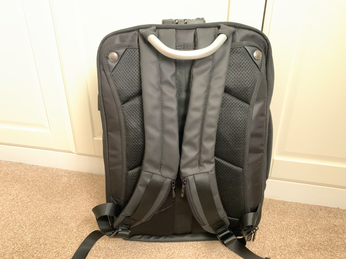 The back of the Nayosmart Defensor backpack, which allows the straps to be stowed