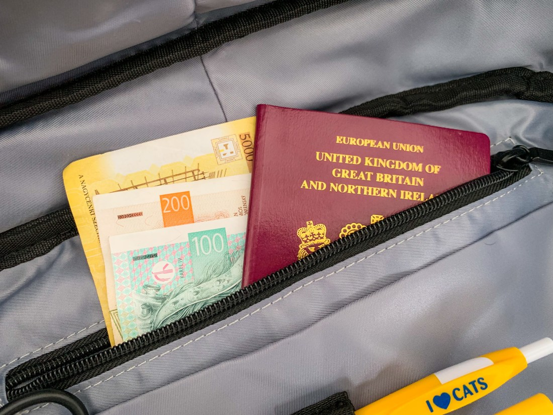 A passport and foreign currency hidden in a pocket of the Nayosmart Defensor anti theft backpack