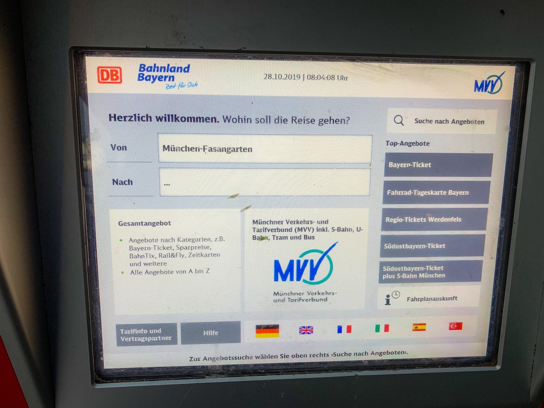 The screen of a Munich public transport ticket machine, showing all options in German