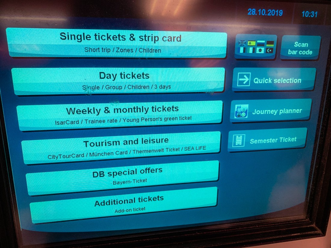 A U-Bahn machine showing options for tickets. This is also a good way to get passes for Munich public transport