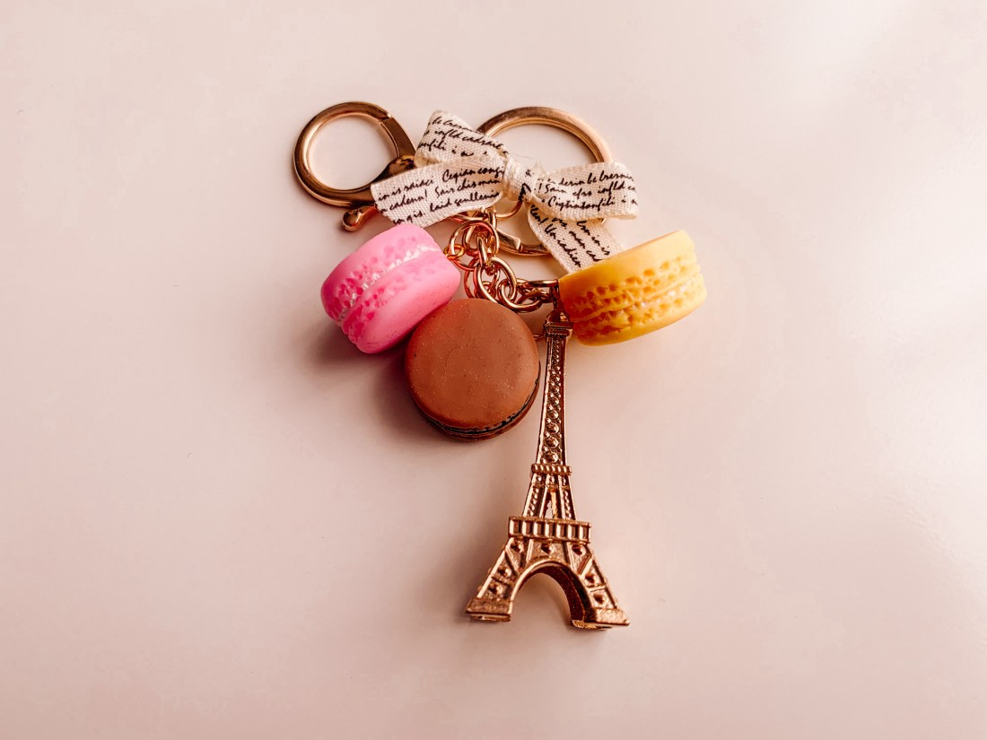 An Eiffel Tower keyring, one of the essential Paris souvenirs.