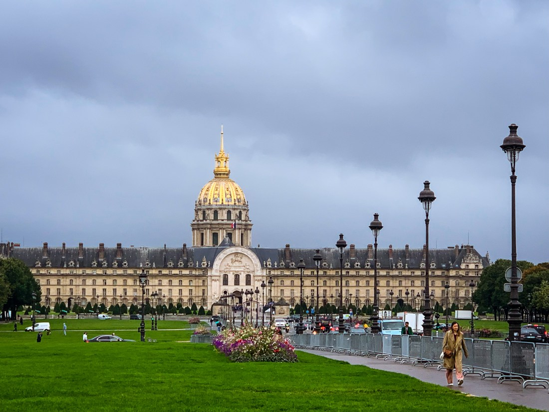 Les Invalides, a large building in which the remains of Napoleon are beneath a golden dome.