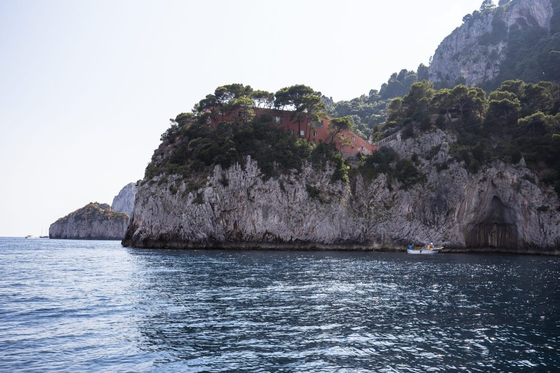 The house Villa Malaparte on the edge of a cliff. Although not open to the public, spotting this house is a lot of fun!
