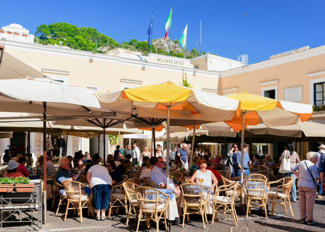 The Piazzetta of Piazza Umberto I in Capri. This is a great spot for people watching and spotting celebrities in Capri.