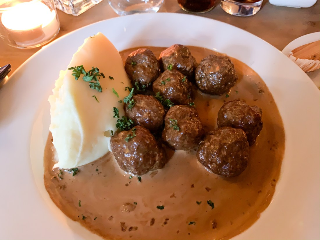A plate of Swedish meatballs with mashed potato. Finding the best meatballs in Stockholm is a fun task!