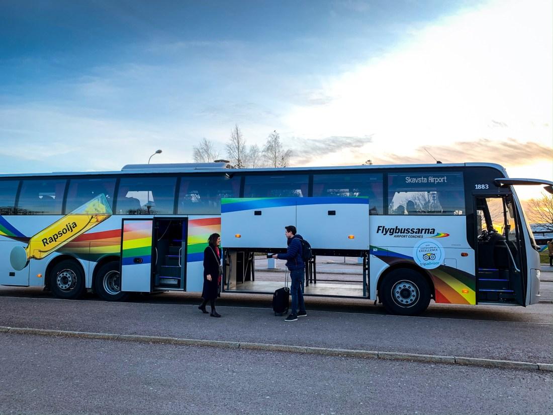 A Flygbussarna coach, arriving at Stockholm Skavsta Airport