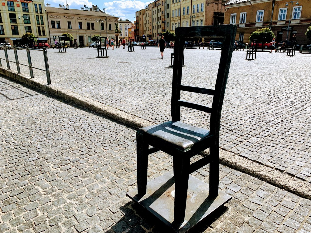 A bronze chair in Ghetto Heroes Square, Krakow, an important stop on any Krakow itinerary