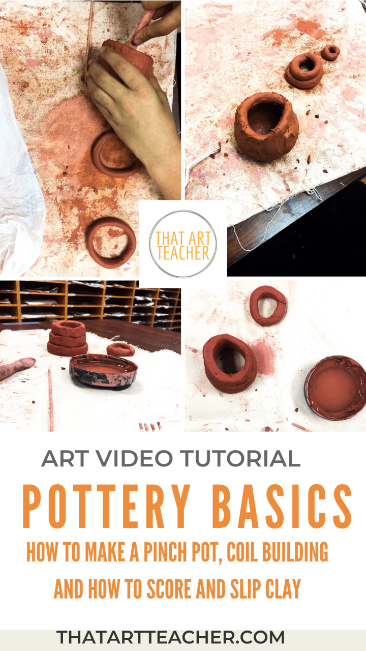 Learn basic pottery handbuilding techniques with this video! How to make a pinch pot, coil building and how to score and slip your clay together.