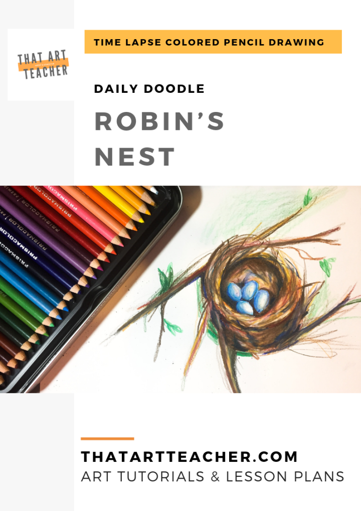 Learn how to blend colored pencils to create a drawing of robin's nest!