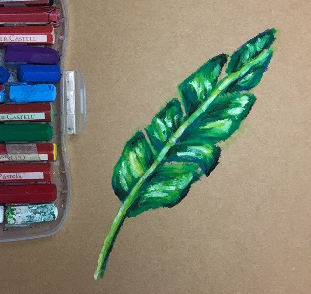 Oil Pastel Art Tutorial: Learn how to blend oil pastels to draw a leaf that looks so 3D it could jump off of your paper!