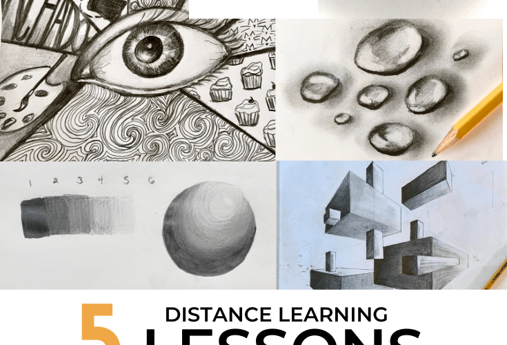 distance learning art lessons for value and shading