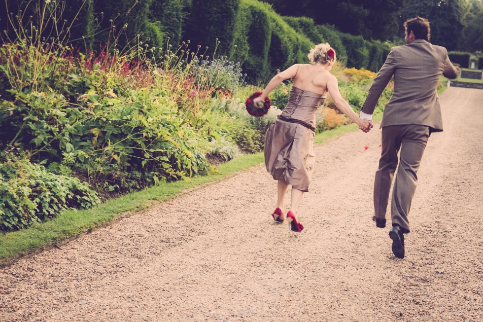 Full wedding planning - Kent wedding picture - runaway bride and groom by lumiere wedding photography