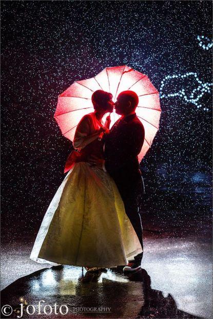 Red heart umbrella in rain