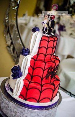 half and half spider man cake
