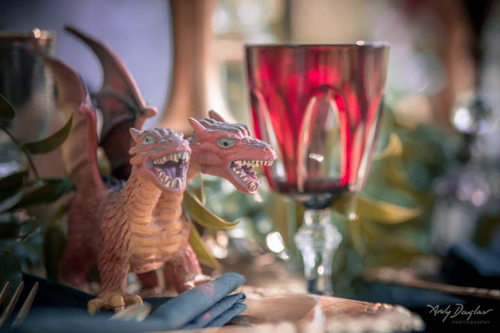 Game of thrones wedding - miniature orange dragon and vintage glassware