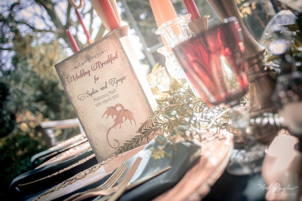 Game of thrones tablescape with menu