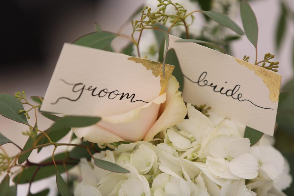 bespoke calligraphy place names - cream card - gold leaf