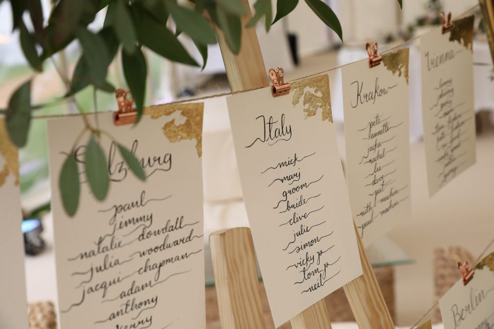 Bespoke wedding calligraphy table plan - greenery - gold leaf - hand written