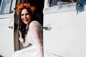 outdoor wedding bride - boho bride - campervan wedding- field wedding - how to plan an outdoor wedding