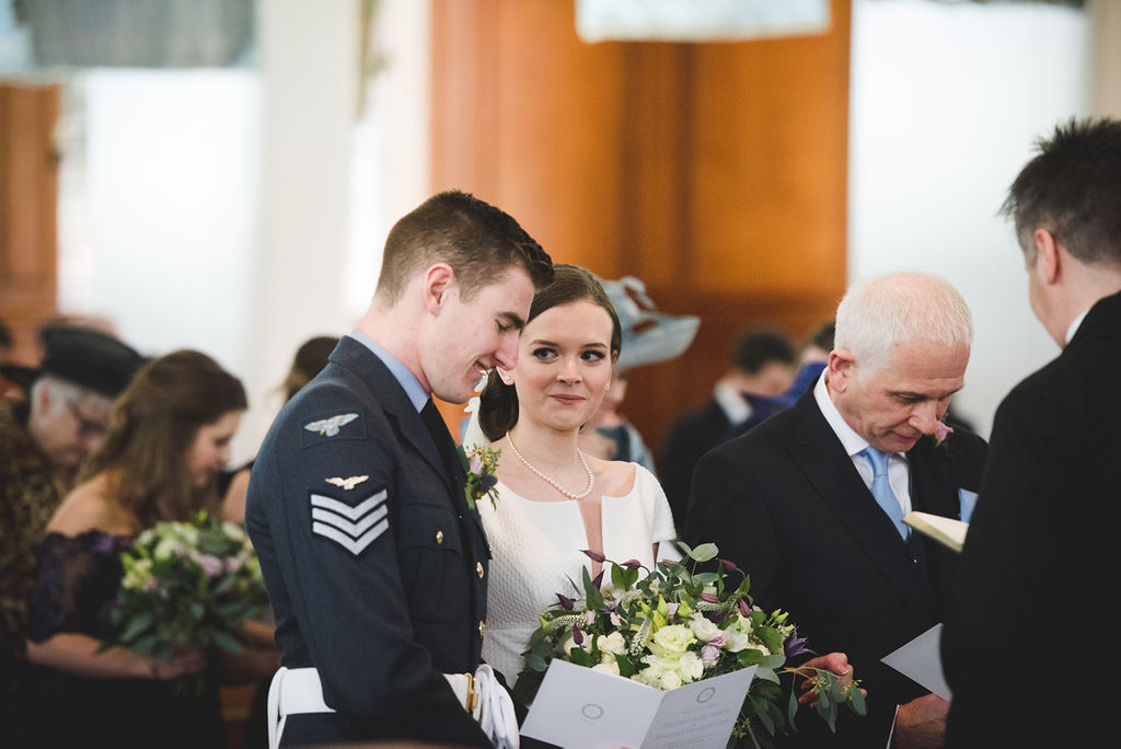 intimate winter wedding in lincoln lincolnshire wedding ceremony bride and groom