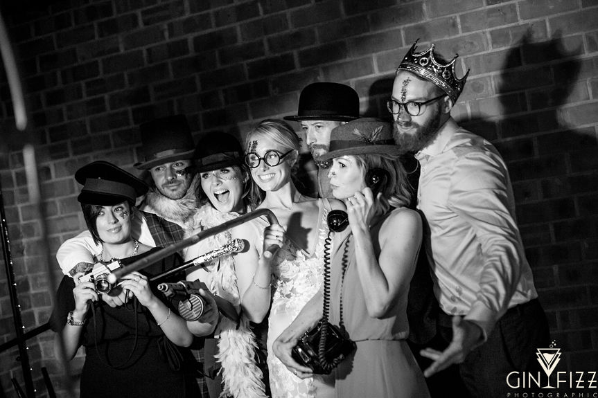 B&N wedding day castle view farm and stables farm leicestershire barn wedding venue - photobooth group picture 2