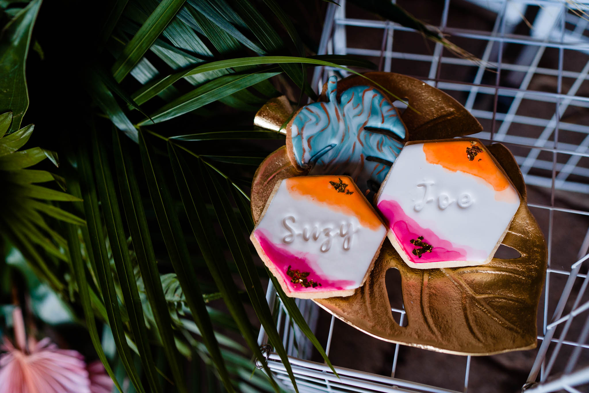 cookie wedding favours - colourful wedding cookies - modern tropical wedding - modern wedding - modern bride - east midlands wedding planner