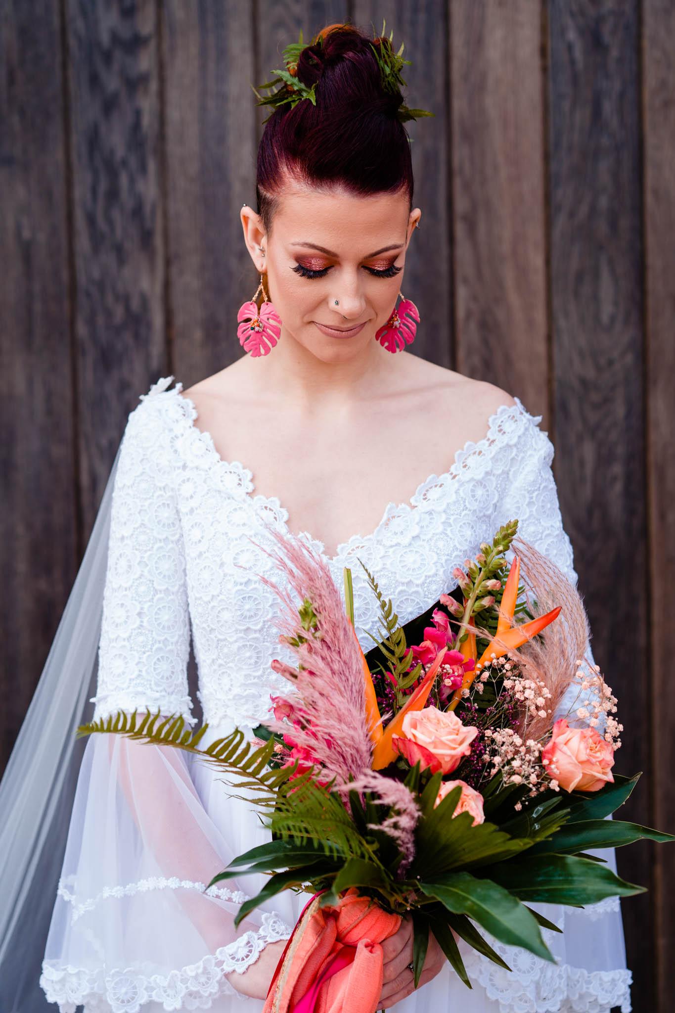 modern bridal wear - colourful wedding bouquet - modern tropical wedding - modern wedding - modern bride - east midlands wedding planner