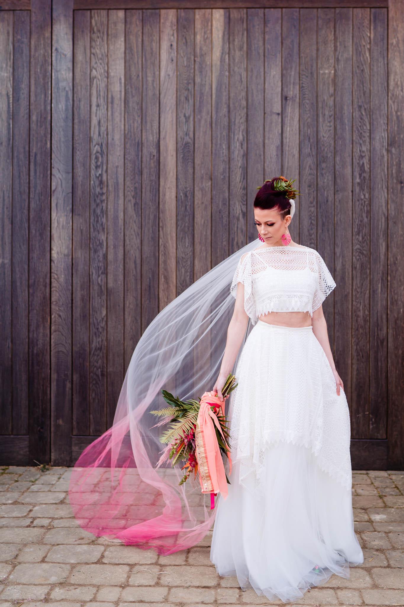 ombre veil - unique wedding dress - modern tropical wedding - modern wedding - modern bride - east midlands wedding planner