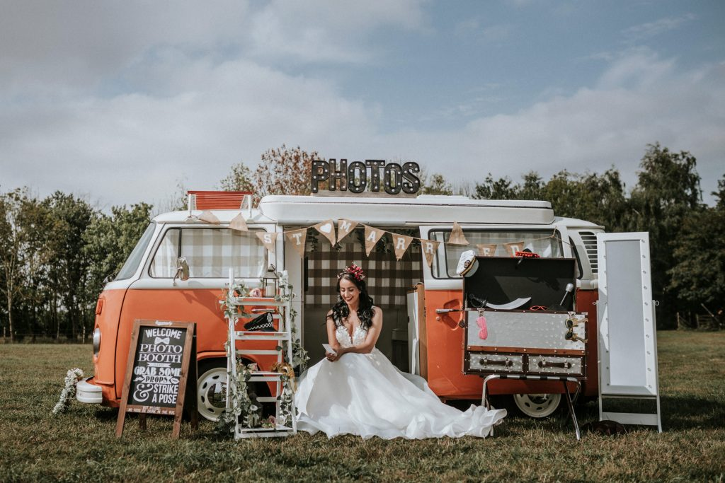 wedding photo booth - camper van photo booth - wedding camper van - outdoor wedding entertainment Woodland Wedding - nottingham outdoor wedding venue - east midlands wedding planner