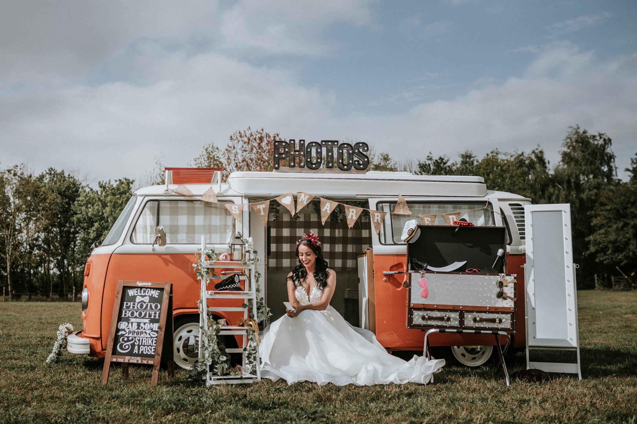 wedding photo booth - camper van photo booth - wedding camper van - outdoor wedding entertainment Woodland Wedding - nottingham outdoor wedding venue - east midlands wedding planner